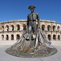 Sunlight on Matador statue Nimes France