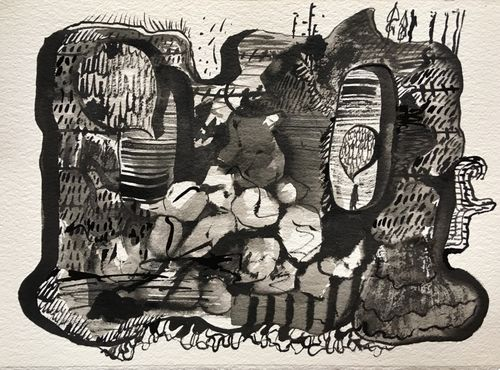 She Called the People She Found There, 2019, indian ink on paper, 28x38cms