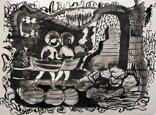 Abroad is Another Light Year, 2019, indian ink on paper, 28x38cms
