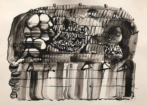 Trying to speak but my head is full of rocks, 2019, 36x51cms, ink on paper
