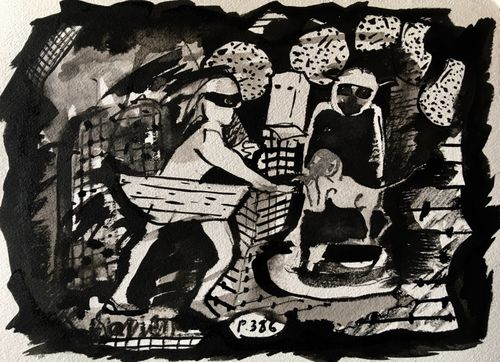 Harlows Orphan, 2019, indian ink on paper, 28x38cms