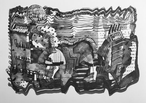 The Bullshit Machines are Back, 2019, 36x51cms, ink on paper