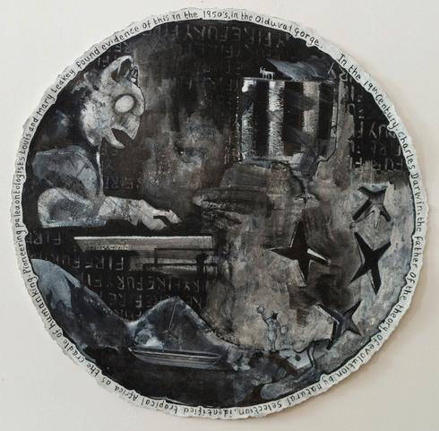 Cheerleader, 2017, ink, gesso, acrylic on paper, 110cm diameter