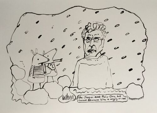 When the Clangers meet Philip Glass but cannot determine if he is angry or sad, 2019, 36x51cms, ink on paper