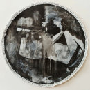 Helter Skelter, 2017, ink, gesso, acrylic on paper, 110cm diameter