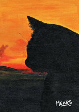 """Cat watching Sunset"", paint to order 10""x8"" £51 or 12""x10 £62, or 10""x8"".  Includes P&P and delivery insurance."