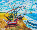 """Fishing Boats on the Beach, 1888 (with acknowledgement to Vincent van Gogh"".  Paint to order 10""x8"" £51 or 12""x10"" £62.  Includes P&P and delivery insurance"