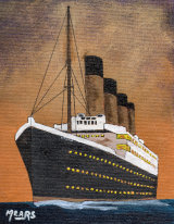"""Titanic"" (from White Star Line poster) original acrylic in 12""x10"" oak frame and 30mm brown mount. £62 includes P&P and delivery insurance."
