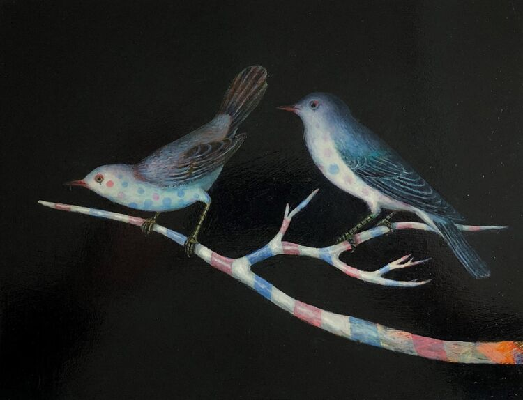Circus Birds - oil on Panel  19 x 24 cm