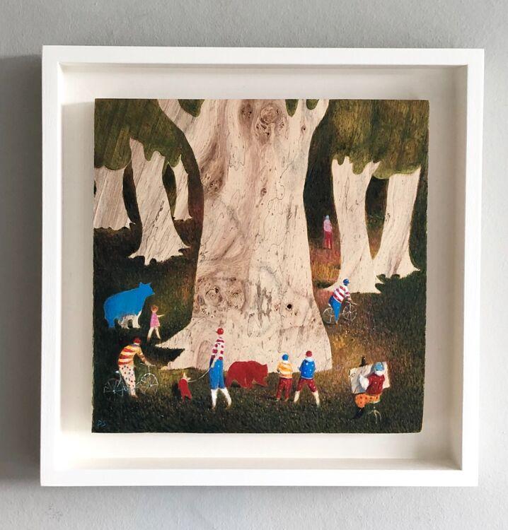 'Girl with Blue Bear' framed in an off white box frame