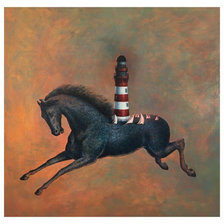 ' The Race ' 65 x 60 cm Oil on Panel