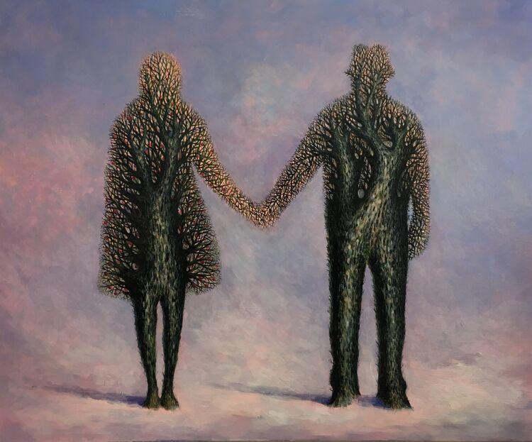' Snowfall on the Apple Tree ' oil on panel 67 x 60 cm