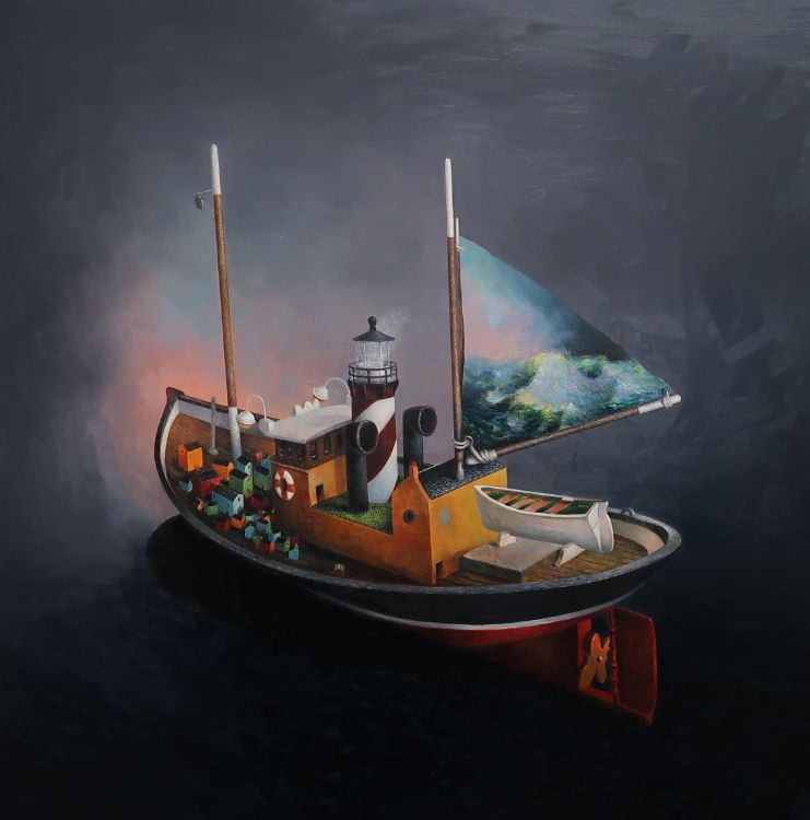 The Day The Whale Came / oil on panel 75 x 75 cm