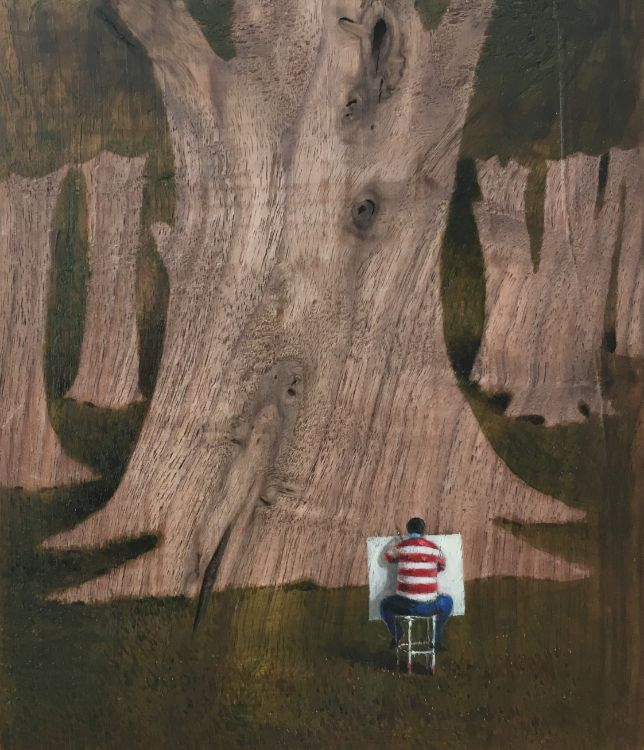 The Forest Watching an Artist Watching a Forest  / oil on American Walnut 15 x 17 cm