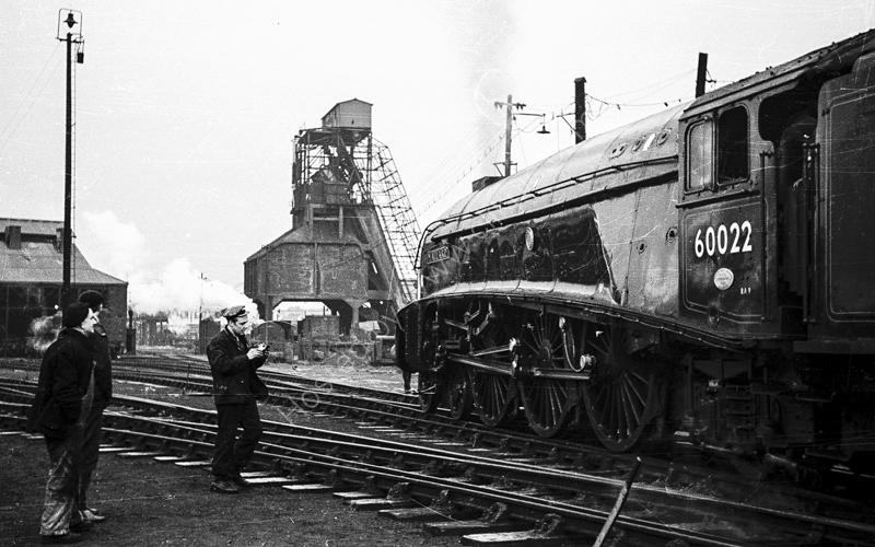 """60022 """"Mallard"""" on Nine Elms shed, Battersea,  24 February 1963"""