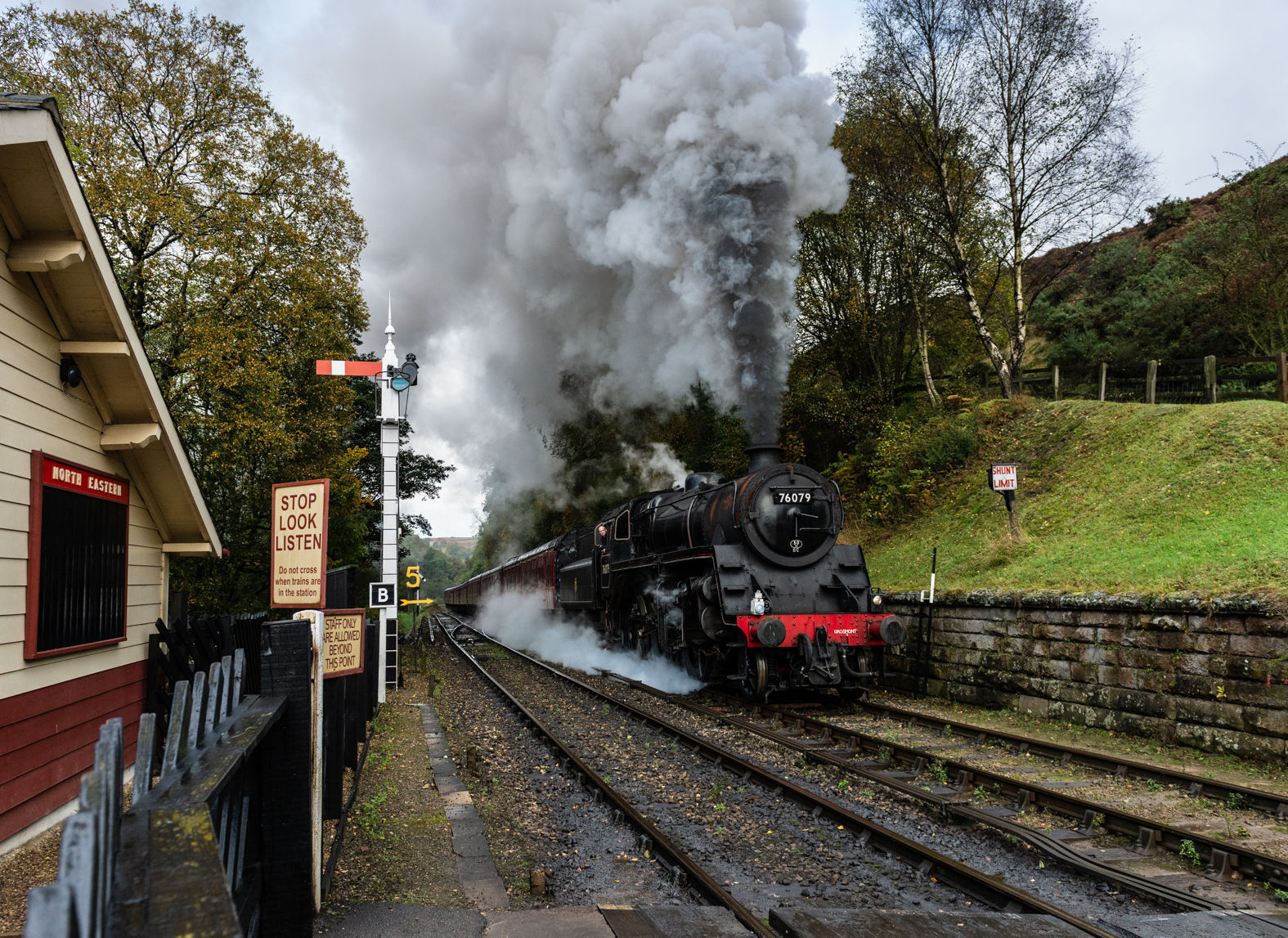 76079 climbing into Goathland, North Yorkshire