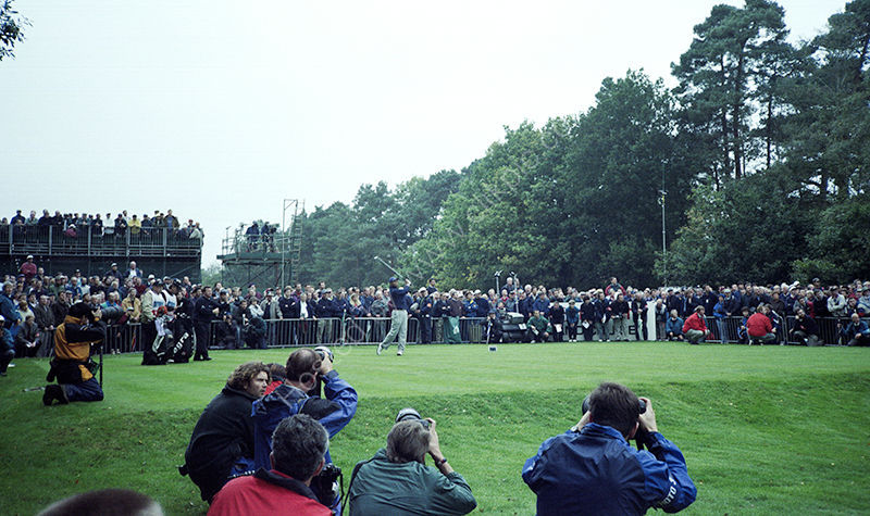 Tiger Woods tees off at the fifteenth hole at Wentworth in his match with Ian Woosnam, World Matchplay Championship, 1998