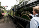 "5029 ""Nunney Castle"" and 4936 ""Kinlet Hall"" run into Alresford, Mid-Hants Railway, 12 September 2008"