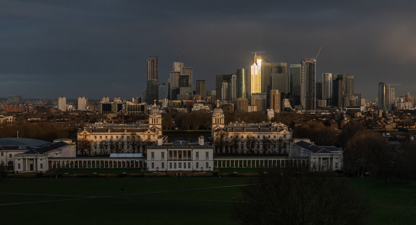Greenwich and Canary Wharf at Sunrise