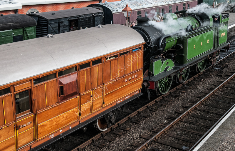LNER Pigeon Van, dating from 1929, and GNR N2 Class No. 1744 at Weybourne, North Norfolk Railway, 14 March 2010