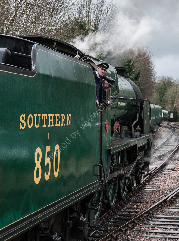 "30850 ""Lord Nelson"" at Alresford, Mid-Hants Railway, 13 February 2015"