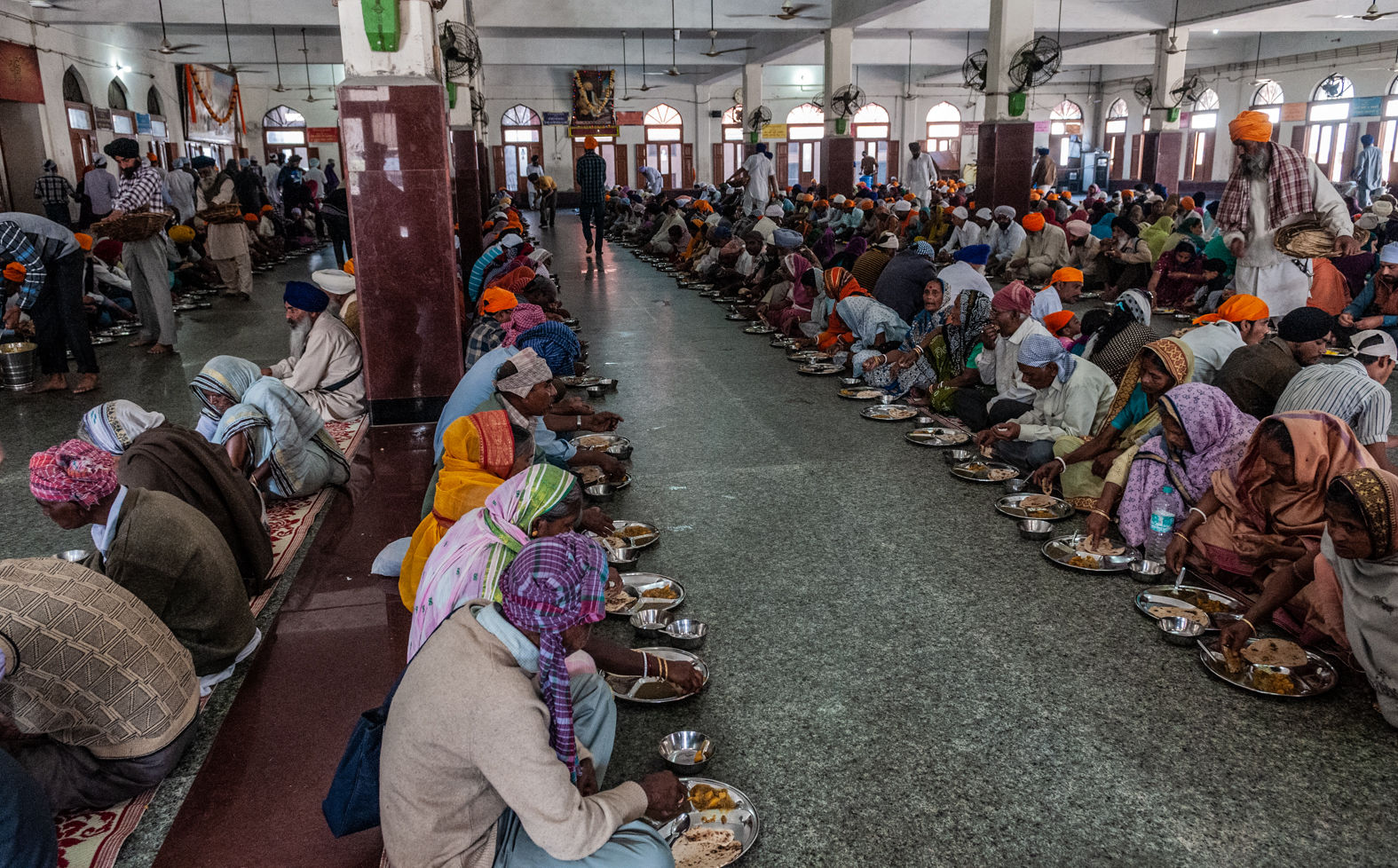 Dining hall at the Golden Temple, Amritsar, March 2013
