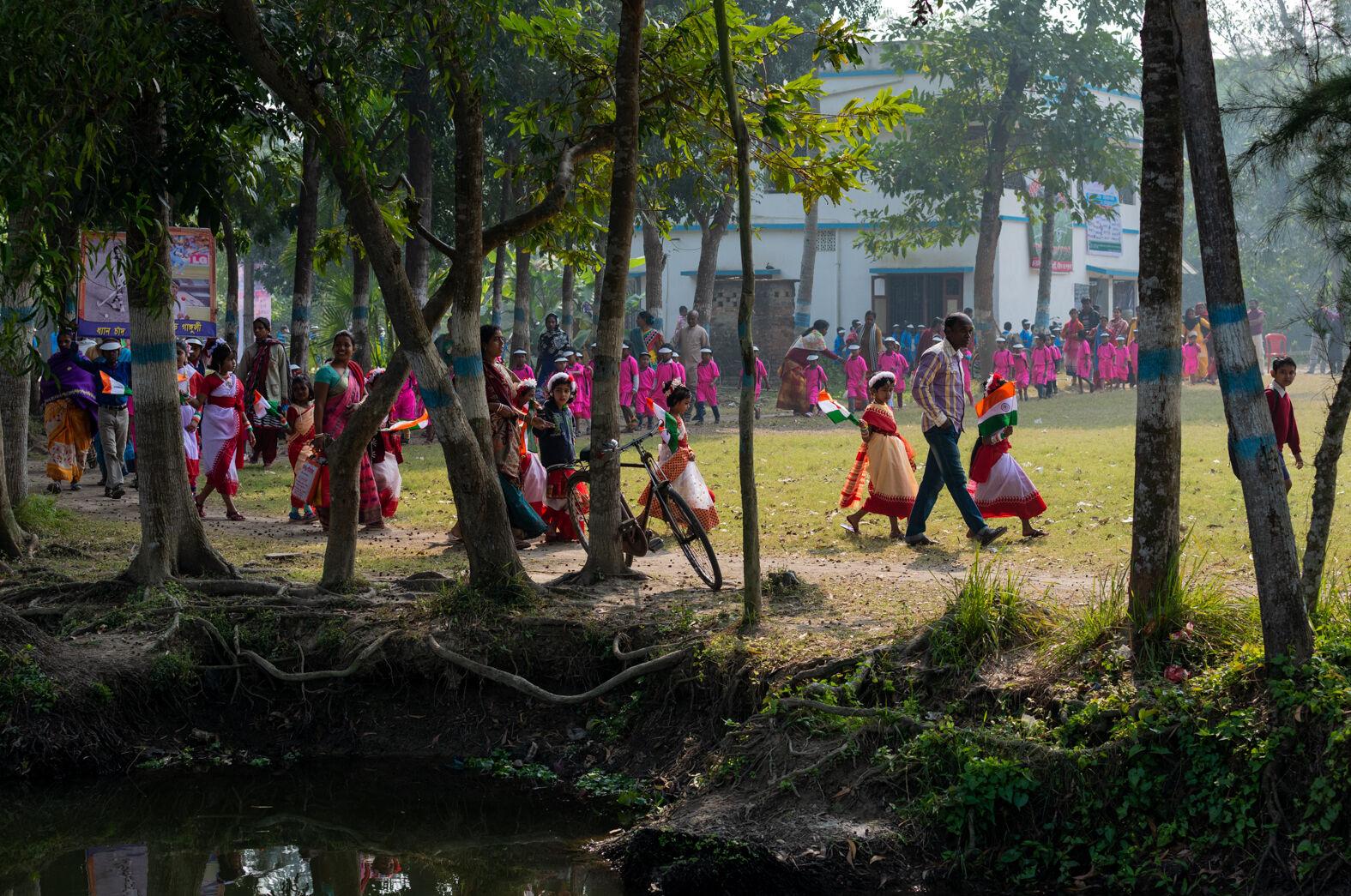 Republic Day school parade, Bawali, Bengal