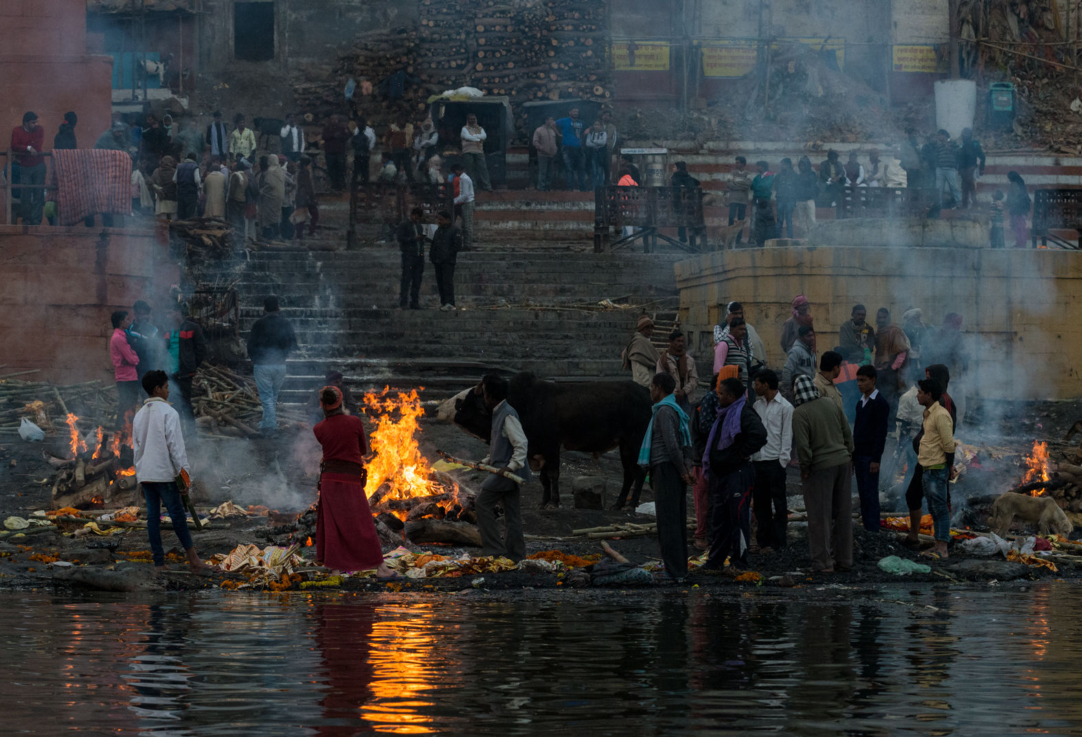 Cremation ghat by the Ganges, Varanasi, January 2018