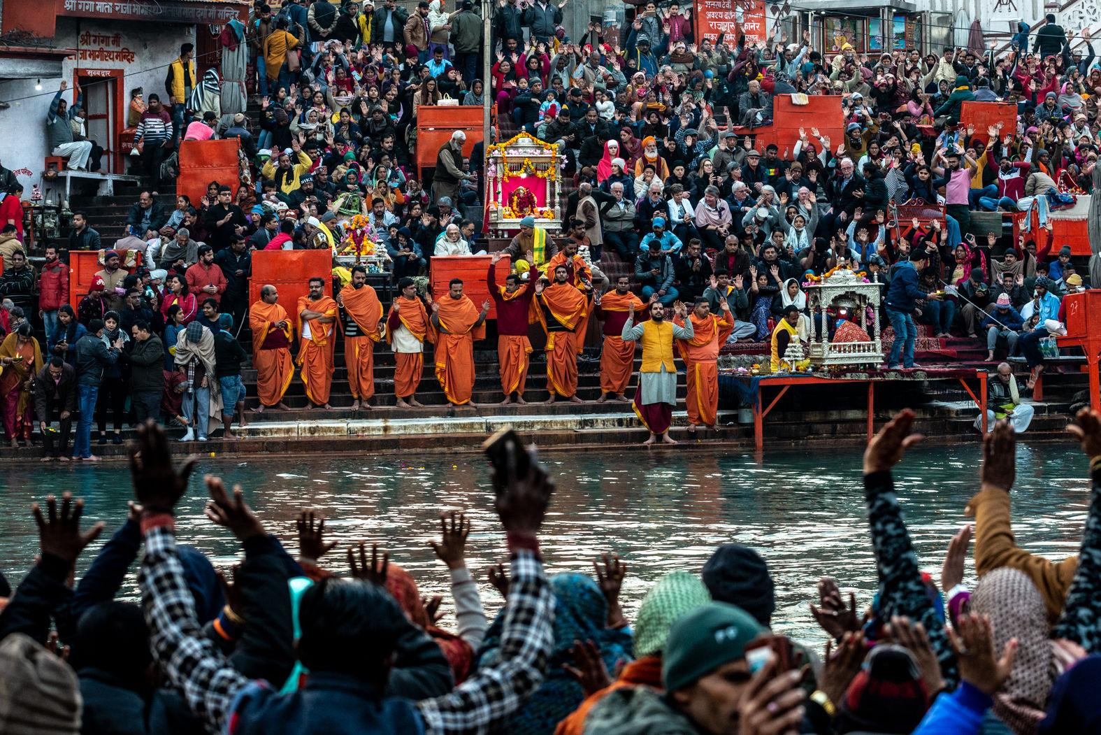 Evening prayers by the Ganges, Haridwar