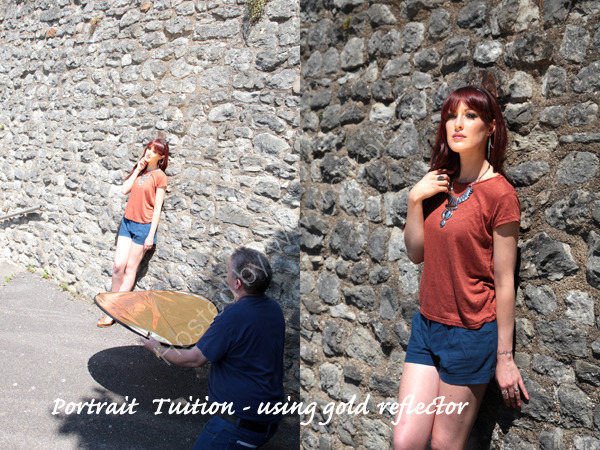 Portrait Photography Tuition. Using reflectors to fill shadows.