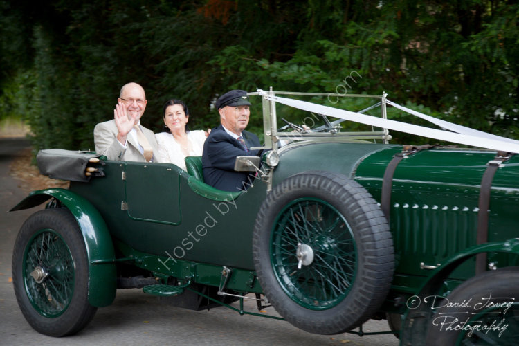 Arrival in a vintage Bentley