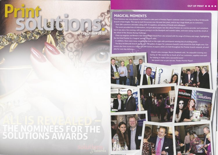 Full page printed in Print Solutions Magazine October 2014