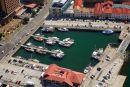 Historic Builldings, Hunter Street, and Victoria Dock, Hobart Waterfront, Tasmania, Australia - aerial