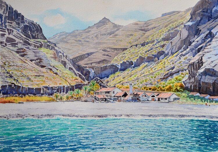 Abandoned Sardine Cannery, La Gomera Watercolour 50 x 35cm