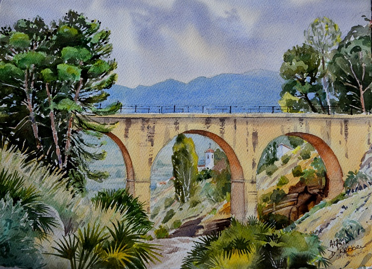 Alfaix Bridge, Almeria, Spain. Watercolour NFS