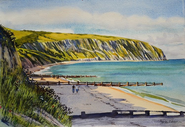 Along the beach, Swanage. Watercolour 50 x 36cm
