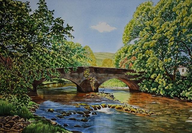 Arncliffe Bridge, Littondale, Yorkshire Dales. Watercolour 65 x 44cm