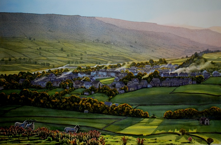 Autumn Evening, Reeth, Swaledale. Watercolour 67 x 44cm
