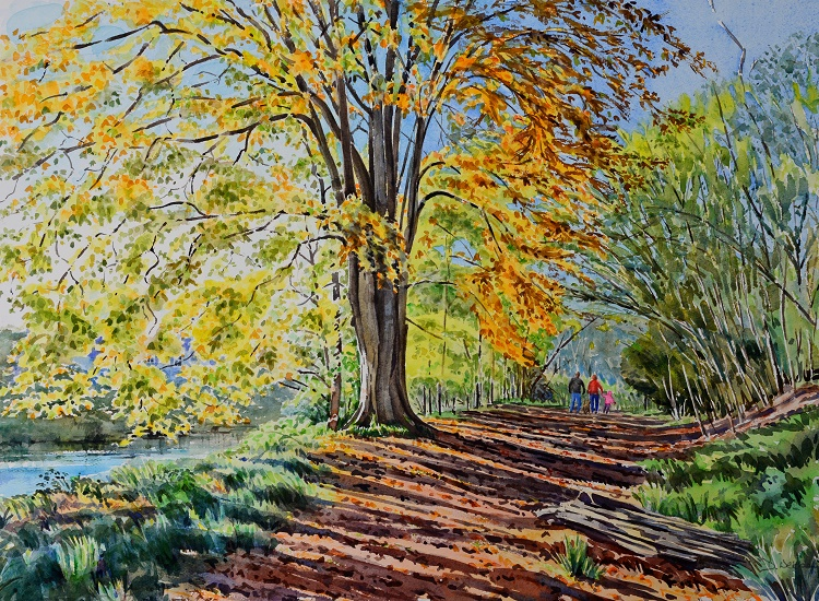 Autumn Walk by the Nidd, Yorkshire. Watercolour 68 x 49cm