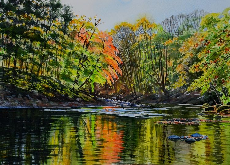 Autumn on the Ure at Hackfall. Watercolour 50 x 35cm