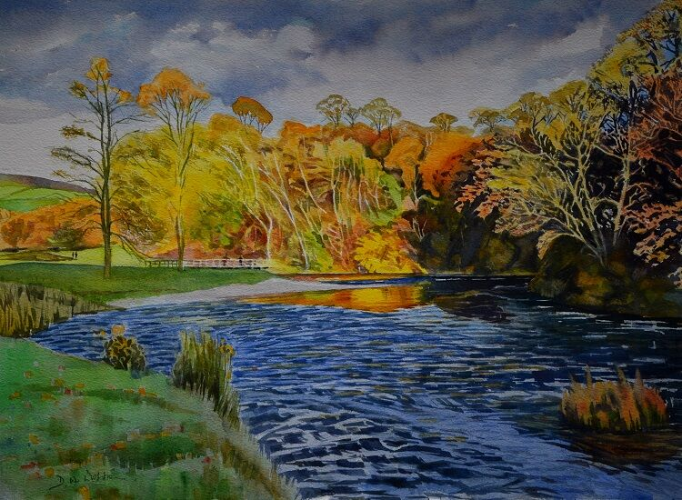 Autumn on the wharfe at Bolton Abbey Watercolour  57 x 42cm