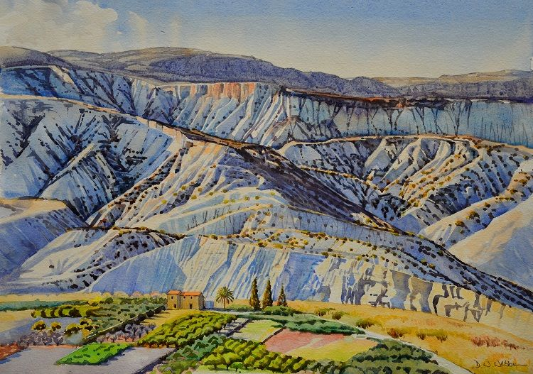 Badlands, Almeria, Spain. Watercolour 57 x 43cm