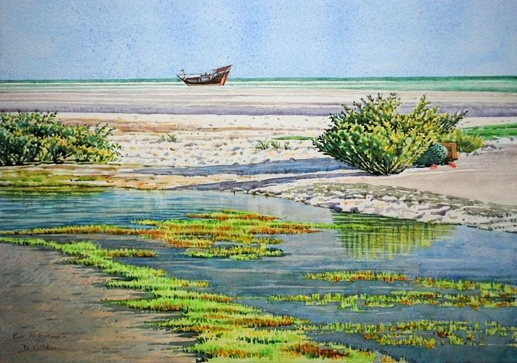 Beached Dhow, Barr al Hikman. Watercolour 72 x 52cm