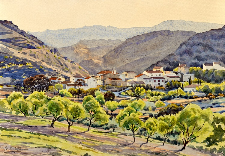 Bedar, Almeria, Spain. Watercolour 50 x 36cm