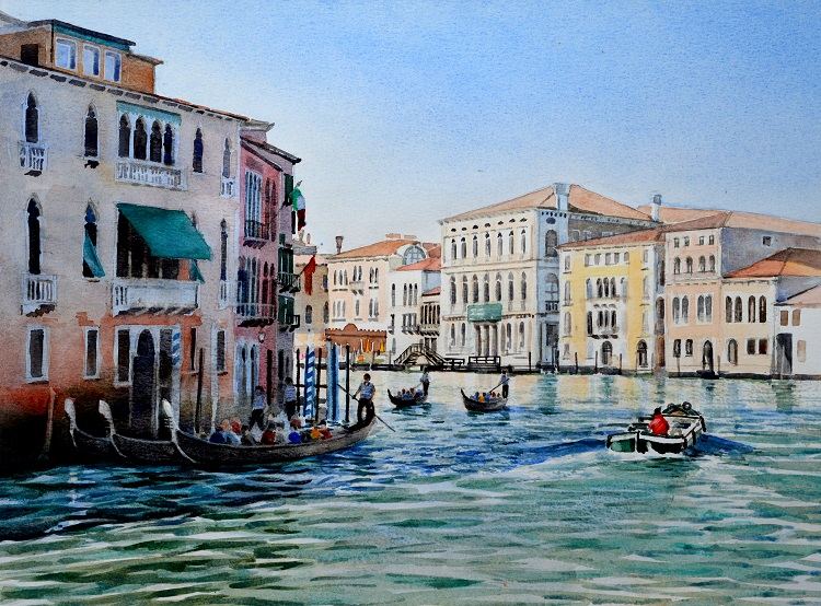 Bend on the Grand Canal. Watercolour 54 x 40cm