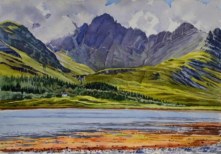 Blaven across Loch Slapin , Skye  Watercolour 50 x 35cm