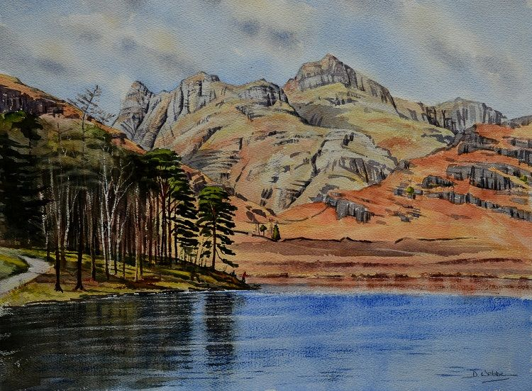 Blea Tarn and the Langdale Pikes, Cumbria. Watercolour 60 x 45cm