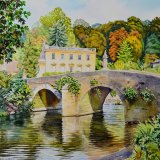 Britannia Bridge and Iford Manor, Bath. Watercolour 58 x 47cm