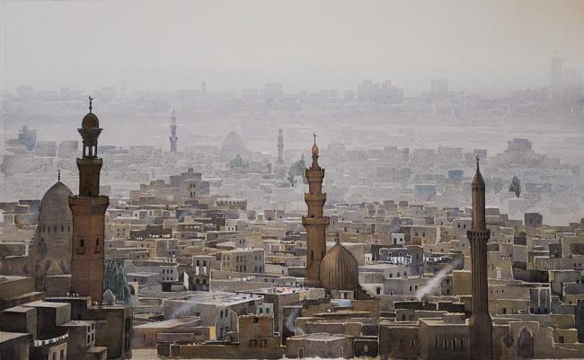 Cairo Skyline. Watercolour. 71 x 44cm