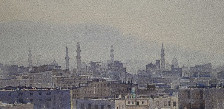 Cairo rooftops, Watercolour 65 x 31cm